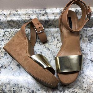Zara Brown Suede Wedges Size 38/8